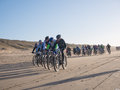 Mountain bikers taking part in the beach race egmond pier egmond netherlands january unidentified contestants of annual bike Royalty Free Stock Images