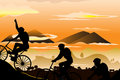 Mountain biking Stock Images