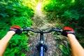 Mountain biking down hill view from biker Stock Photo