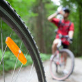 Mountain biking in a forest Royalty Free Stock Image