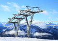 Mountain with cableway pillar of alps austria at winter time Stock Image