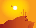 Mountain Calvary with crosses with sky and sun