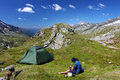 Mountain camping Stock Images