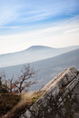 Mountain in the carpathians view from rocks on misty autumn hill Royalty Free Stock Photos