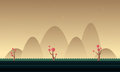 Mountain cartoon style for game background