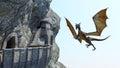 Mountain Castle Dragon Fantasy Background