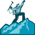 Mountain climber summit retro illustration of climbing reaching the celebrating holding ice axe done in woodcut style Royalty Free Stock Photos