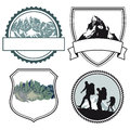 Mountain climbing icons a set of for mountains and mountaineering Royalty Free Stock Photography