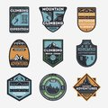 Mountain climbing vintage isolated label set