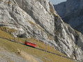 Mountain cogged railway leading to a peak of mount pilatus switzerland Royalty Free Stock Image