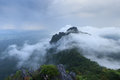 The mountain concealed by the mist beautiful Royalty Free Stock Photo