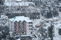 Mountain cottage covered with snow in dalhousie himachal pradesh Royalty Free Stock Photography