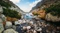 Mountain creek in High Tatras panorama view Royalty Free Stock Photo