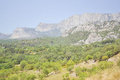 Mountain Crimea rocks and trees on slope, forest Royalty Free Stock Photo