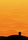 Mountain or desert landscape with orange hills in layers at sunset with house