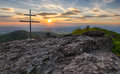 Mountain dramatic sunset panorama in peak Buchlov, Vtacnik Royalty Free Stock Photo