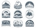Mountain emblems. Hiking labels with snow mountains peak landscape. Camp and tourism vintage vector logo set