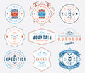 Mountain exploration colored badges and labels for any use Royalty Free Stock Photography