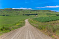 Mountain Farms Green Blue Dirt Road  Stock Photography