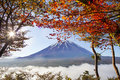 Mountain Fuji in autumn with red maple leaves, Japan Royalty Free Stock Photo