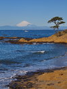 Mountain fuji and the ocean from sagami bay yokosuka japan Royalty Free Stock Photos