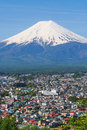 Mountain fuji with town foreground and nice clear sky Royalty Free Stock Images