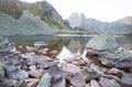 Mountain glaciar lake in Retezat, Romania Royalty Free Stock Photo