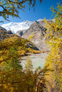 Mountain glacier lake above Saas Fee, Switzerland Royalty Free Stock Images