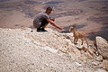 Mountain goat and teenager in the negev desert israel Stock Photo
