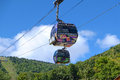 Mountain gondola provides scenic transportation to the top of green in summer Royalty Free Stock Photo