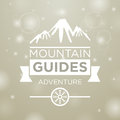 Mountain guides adventure on gray and snow background Stock Photo