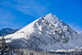 A mountain in High Tatras in Slovakia covered in snow
