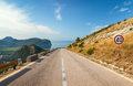 Mountain highway with speed limit sign montenegro Royalty Free Stock Images
