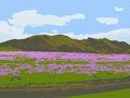 Mountain hills and a field with flowering plants. Vector illustration.
