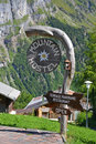 Mountain hostel sign in the alps Stock Image
