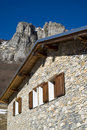The mountain hut in the Alps Royalty Free Stock Photo