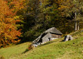 Mountain hut in autumn Stock Photo