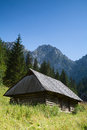 Mountain hut in tatras poland or beautiful summer landscape Stock Photos