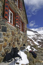 Mountain hut trifthütte m near trift glacier swiss alps Royalty Free Stock Images