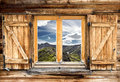 Mountain hut window summer Royalty Free Stock Photos