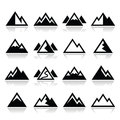 Mountain icons set vector of landscape on white Royalty Free Stock Image