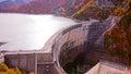 Mountain and Kurobe dam in Japan Alpine route