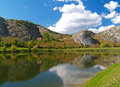 Mountain lake with a blue sky shiny Stock Photography