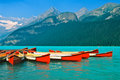 Mountain Lake and Canoes Royalty Free Stock Photo