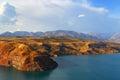 Mountain lake Charvak. Uzbekistan. Tien Shan. Royalty Free Stock Photo