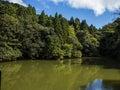 Mountain lake with clear blue sky at fushimi inari shrine kyoto japan Stock Images
