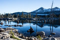 Mountain lake in desolation wilderness aloha is a remote glacial basin the high backcountry of sierra nevada mountains of eastern Royalty Free Stock Photography