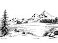 Mountain lake graphic art black white landscape illustration Royalty Free Stock Photo