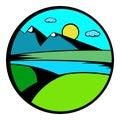 Mountain lake with high mountain icon