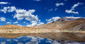 Mountain lake in himalayas with reflection panorama dhankar spiti valley himachal pradesh india Stock Photography